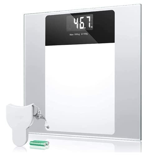 Bascula Baño, Báscula Baño Digital con Pantalla LCD Retroiluminada, Alta Precisión, Gran Plataforma, 180 Kilogramm, Incluida Herramienta de Medida y 2 Baterías AAA, Transparente (blanco)