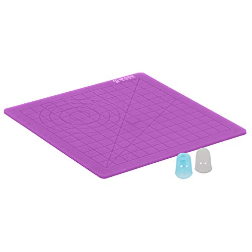 MKOEM 3D Pen Mat, 3D Printing Pen Silicone Design Mat with Basic Template for Kid or Adult, with 2 Silicone Finger Caps (Purple)