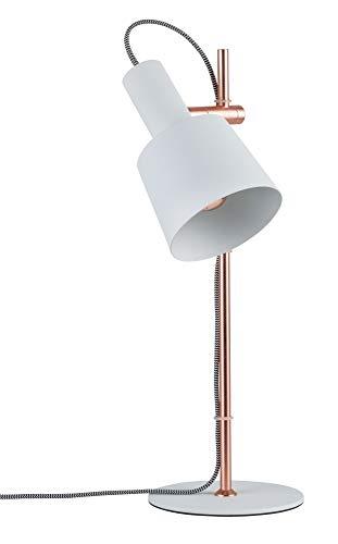 Paulmann 796.58 79658 Neordic Haldar Tischleuchte max. 1x20W Tischlampe für E14 Lampen Nachttischlampe Weiß/Kupfer matt 230V Metall ohne Leuchtmittel