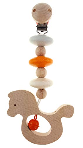 Hess 10126509 - Carrito de juguete de madera, diseño de caballos, para bebés a partir de 0 meses, aprox. 20 x 7 x 3,5 cm, color naranja