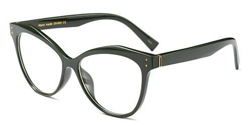 BOZEVON Donna Moda Classico Montatura Occhiali da Vista Occhiali con Lenti Trasparenti Occhio di gatto Festa Occhiali, Verde
