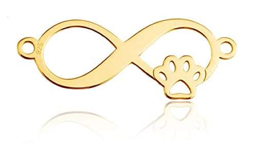 Sadingo Conector de joyas Infinitiy Gold con huella de perro de plata de ley 925, pulsera DIY, 1...