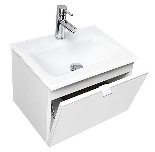 Mobile Bagno Sospeso con Lavabo in Cristallo Extrachiaro Verniciato Bianco 50x37,5x30h cm