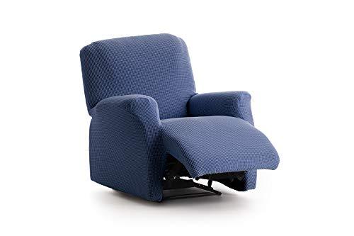 Textilhome - Copripoltrona Relax Reclinabile Marian Copridivano Elasticizzato, Taglia 1 Posti - 70 a 100Cm. Colour Blu