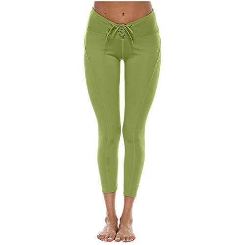 Lenfeshing Pantalones Chandal Mujer Pantalón Largos Deportivo Pantalón Slim Patalones de Yoga Diseño de Correa para La Cintura Color Sólido