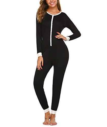 Einteiler Schlafanzug Damen Warm Schlafoverall Winter Kuschelig Jumpsuit und Elegant Pyjama Lang Overall für Frauen In in schwarz S