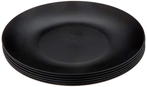 Coza Design- Unbreakable and Reusable Plastic Plate Set- BPA Free- Set of 6 (Black)