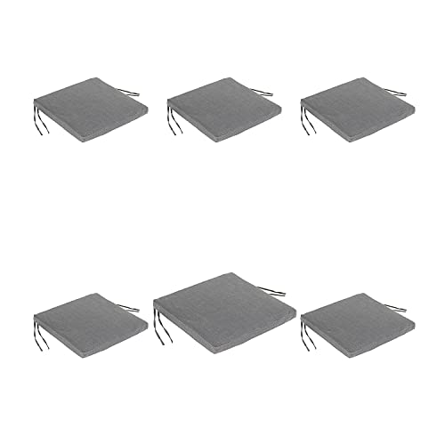 Edenjardi Lot de 6 Coussins de siège Lux pour extérieur Couleur Anthracite | Dimensions: 44x44x5 cm | Imperméable | Déhoussable | Livraison Gratuite