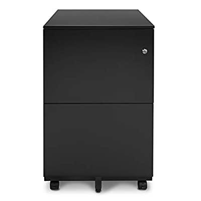 Aurora 3-Drawer Metal Mobile File Cabinet Color and Wood Texture