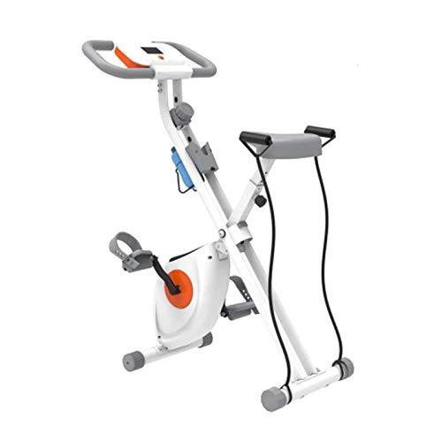 UIZSDIUZ Bicicleta de Ejercicio Plegable, ciclos de Estudio Interior con 8 Niveles de Resistencia magnética 7 Niveles de ajustes de Asiento Monitor de Monitor