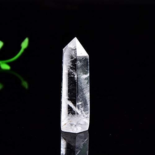 CHANGFUSHEN Cristal Natural Cuarzo Cuarzo Transparencia Cuarzo Prismas hexagonales 50-80mm Varita Decoración de la casa (Color : Clear Quartz, Size : 61 70mm)