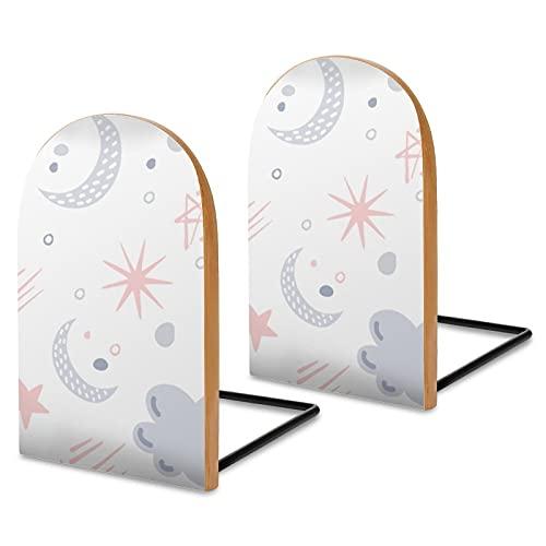 Stars Moon Baby 2 pezzi di tronchi di legno pesanti fermalibri moderni per adulti,bambini,scaffali per libri,ufficio,scuola e cucina di casa Scaffali decorativi in legno 5x3'