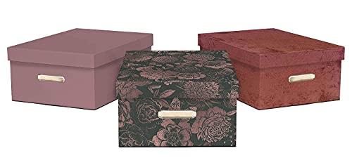 GIOLANBOXES - SERIE ROSA MIX 3 pz. - Scatole in cartone per cambio stagione. Scatole per armadi automontati. Contenitori portaoggetti. 100% riciclabili con la carta. Misure 49,5 x 36,5 x 21h. (Rosa)