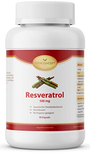 Resveratrol I 500 mg Trans-Resveratrol pro Kapsel I 90 Kapseln (3 Monate) I Trans-Resveratrol aus japanischem Staudenknöterich I laborgeprüft I vegan I hochdosiert I made in Germany I VITACONCEPT