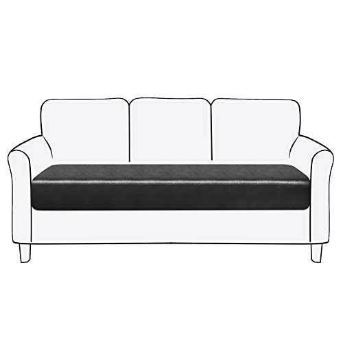 Subrtex - Funda para asiento de sofá de piel elástica de poliuretano (3 plazas, piel negra)