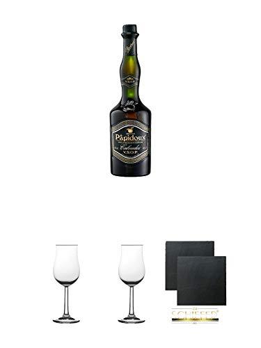 Papidoux Calvados V.S.O.P. Frankreich 0,7 Liter + 2 Bugatti Nosing Gläser mit Eichstrich 2cl und 4 cl + 2 Schiefer Glasuntersetzer eckig ca. 9,5 cm Ø