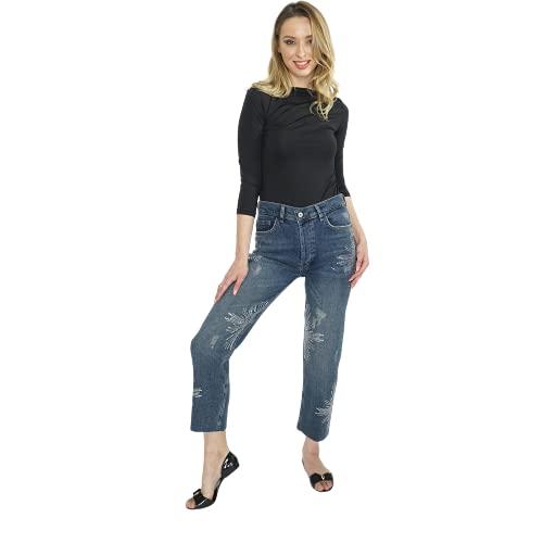 Mujeres Pierna Piedra Adornos Detallados Vaqueros Calientes Para Casual Color Azul Pantalones Moda Longitud Completa Elegante Mujer Ropa