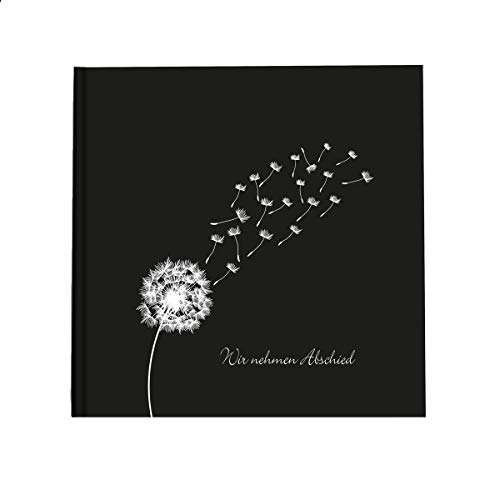 in due Kondolenzbuch 'Pusteblume - Wir nehmen Abschied' Schwarz Weiß 21 x 21 cm, 144 Seiten weißes Papier blanko Trost Trauer Beerdigung