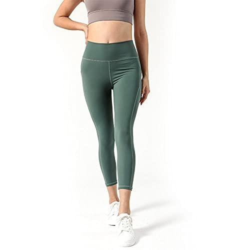 MLLM Ideal para Danza Correr Trotar Ejercicio,Pantalones de Yoga elásticos de Bolsillo, Medias Deportivas de Fitness-Verde_S,Fitness Bailan Deportivo para Mujeres Pantalones