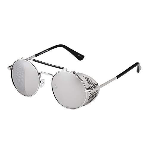 Plateado con Lentes Plateados Espejados Gafas de Sol con Protección Lateral Retro Steampunk Azules Mujeres y Hombres Gafas Metálicas Góticas Circulares Cosplay Unisex con Protección UV400