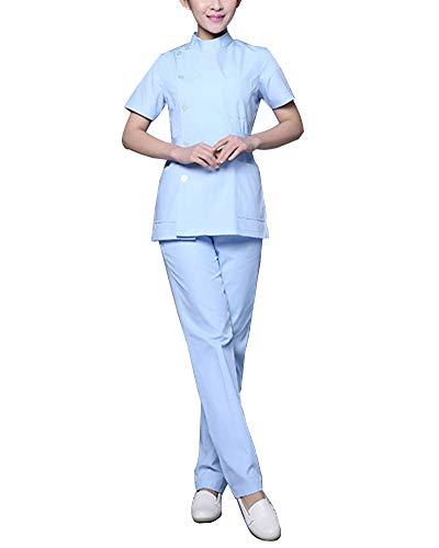 Set Kasack + Hose Damen Uniformen Arbeitskleidung Krankenschwester Kittel Kleidung Pflege Blau L