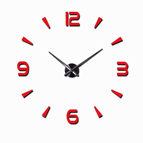 Reloj de pared grande de diseño moderno 3D DIY Relojes de cuarzo Relojes de moda Acrílico Espejo Pegatinas Sala Decoración del Hogar Horloge-Red 3, China, 27 pulgadas No EVA
