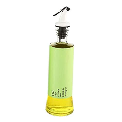 perfk Botella Dispensadora de Aceite de Oliva de Vidrio con Boquilla Sin Goteo Recipiente para Condimentos Líquidos Decantador de Vidrio para Cocina BBQ Hor - Verde