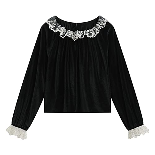 Vintage Blouses and Shirt Tops Women Flannel Chic 2021 Spring Lace Spliced Crewneck Chic Elegant Party Stylish Ins Blusas