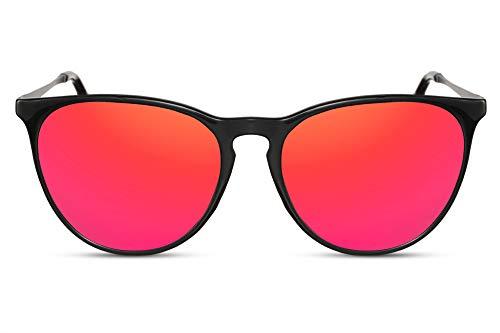 Cheapass Gafas de Sol Negro Brillante Montura Roja Espejadas Redondas Cristales Vintage...