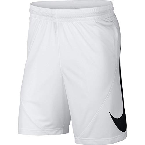 NIKE Men's HBR Basketball Shorts, White/White/Black, Medium