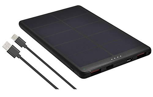 Pro User Solar Powerbank 10000mAh mit 18W, USB-C Power Delivery & USB QC 3.0, Flacher, umweltfre&licher Zusatz-Akku mit integrierter Solarzelle für Unterwegs mit Schnellladefunktion
