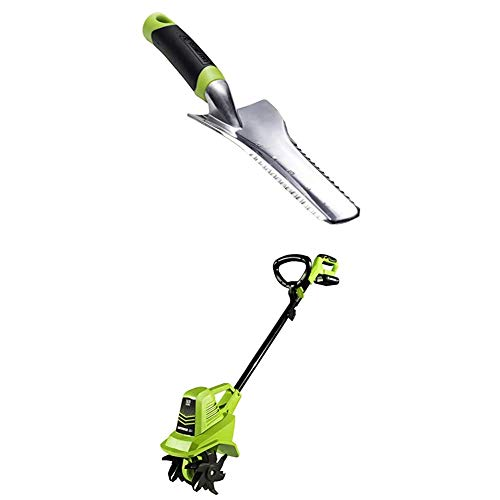 Earthwise Multi-Purpose Hand Tool and TC70020 20-Volt 7.5-Inch Electric Cordless Tiller or Cultivator Bundle