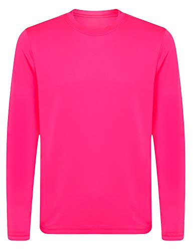 Opna Youth Athletic Performance Long Sleeve Shirts for Boy's or Girl's – Moisture Wicking Neon Pink