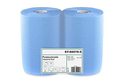 2 x blaue saugstarke Papierrolle, 1000 Blatt, 37x36 cm | 2-lagige perforierte Papiertücher | Putztuchrolle für Industrie, Werkstatt und Restaurant | Durchmesser 25 cm