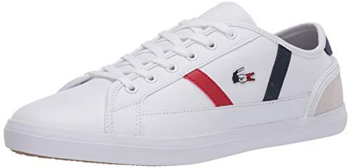 Lacoste Women's Sideline Sneaker, White/Navy/Red, 10 Medium US