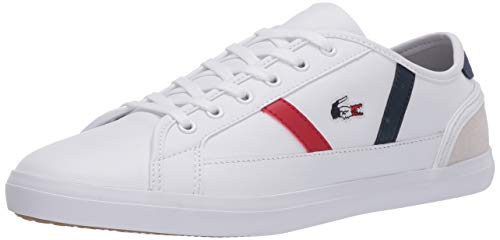 Lacoste Women's Sideline TRI 1 CFA Sneaker, White/Navy/Red, 7.5 Medium US