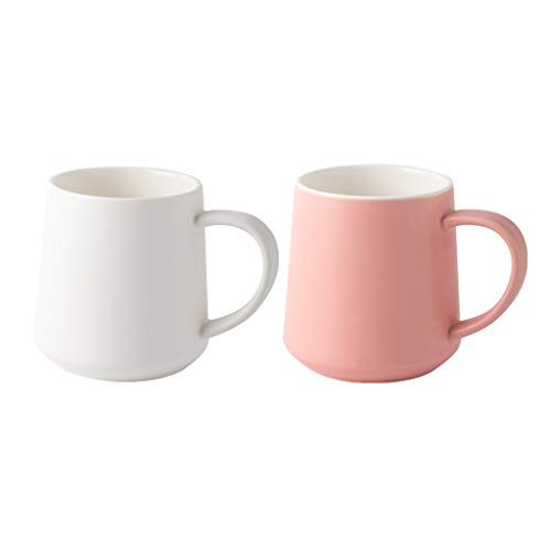 ZHIHUI Espresso Cup Coffee Mug Light Weight Water Cup Ceramic Mug for Milk Coffee Cereal Drinks 450ml/15oz Coffee Mug (Color : W+P)