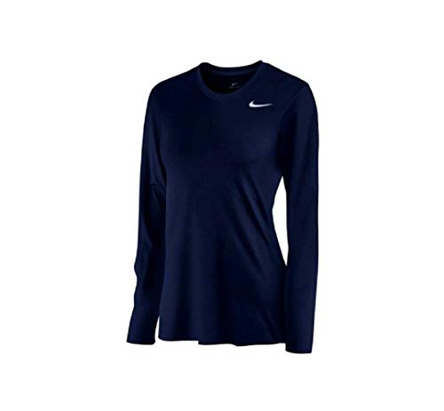 Nike Womens Dri-Fit Legend Long Sleeve T-Shirt, Navy, X-Small