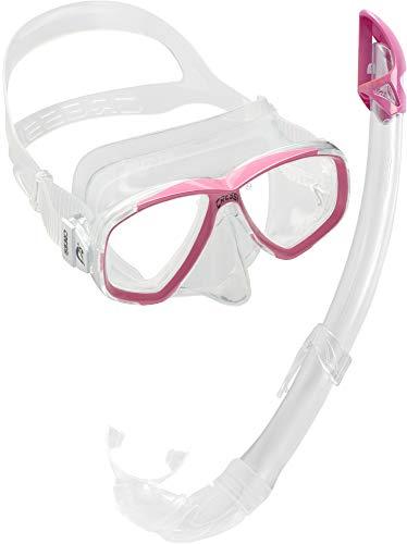 Cressi Combo Set Estrella + Mexico Conjunto Combinado de máscara de Buceo y Snorkel, Unisex Adulto, Transparente/Rosa, Talla Única