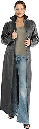 Hard Leather Stuff Long Coat Lady - Stylischer Leder Mantel - lang - Neu - Frühling Sommer, Farbe:Schwarz;Größe:XS