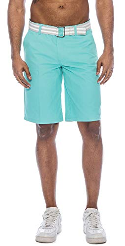 TR Fashion Men's Bahamas Belted Walking Shorts (Aqua, 38)