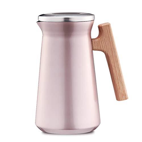 DDPD Hogar aislamiento olla gran capacidad de acero inoxidable hervidor al aire libre termo cafetera 1L-oro rosa