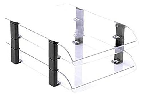 Organizador de escritorio Bandeja de almacenamiento de archivos transparente, librero de plástico para clasificación de archivos A4, organizador de gran capacidad para archivos de revistas de escritor