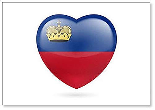 Herz-Flagge von Liechtenstein – klassischer Kühlschrankmagnet