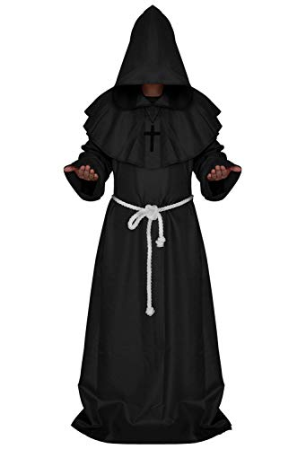 Adult Halloween Costume Hooded Friar Robe Men Cosplay Medieval Monk Priest Outfit Cape Black L