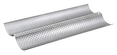 Paderno World Cuisine A4701435 Non-Stick, Perforated baguette pan, Double, Gray