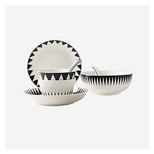 Platos llanos Vajillas de cerámica y sirvedor de placas de cocina de 10 piezas, servicio para 2, conjunto de placas de patrones geométricos, platos platos y platos de aperitivos Platos de comida