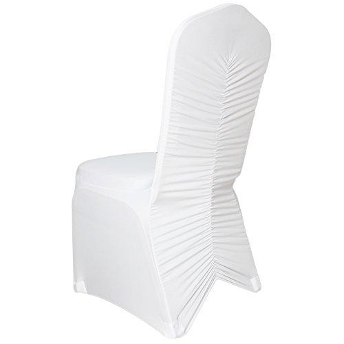 Stoff-Kollektion Stretch Stuhlhusse Stuhlüberzug Bezug mit Raffung Weiß Hochzeit Gerafft Neu Top