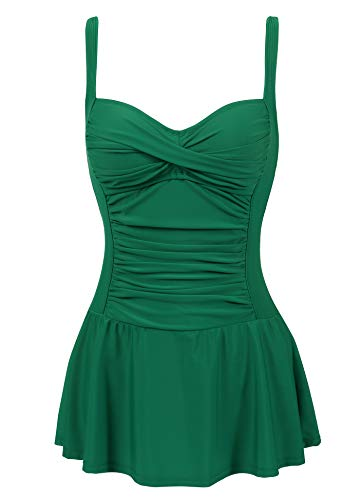 Cherrydew Womens Ruched Swimdress Swim Dress Low Cut one Piece Swimsuit Bathing Suit(Green,Size 8)