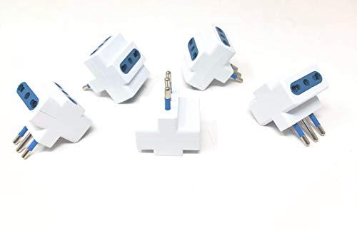 TEMPO DI SALDI 5 X Adattatore Tripla Spina 2 Presa Bipasso 16A/10A + Presa Bipasso Universale